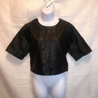 Forever 21 womans medium woven crop top black pleather front with sheer back