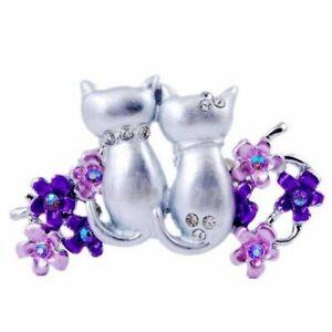 Cute Double Cats Enamel Crystal Rhinestone Brooch 750