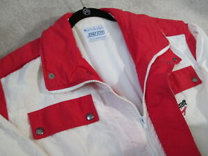 Motorcraft Racing Jacket Team Ford 1980's Vintage Red White Mens L NHRA Glidden