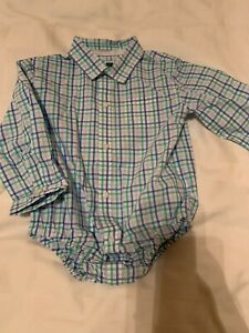 Boys JANIE & JACK Blue Green Plaid Button Up Diaper Shirt Dressy 18-24M