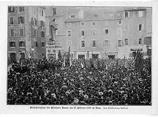 Memoria celebrazione per Giordano Bruno il 17. febbraio a Roma Histor. memorabilie 1906