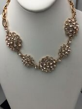 $55 Anne Klein Rose Gold Tone Cubic Zirconia Flower Statement Necklace A119