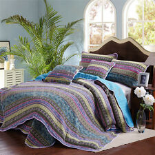 Reversible Cotton Patchwork Coverlet Bedspread 3pc Set Queen King MP11 Blue