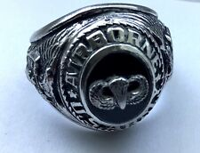BEAUTIFUL AIRBORNE PARATROOPER RING SIZE 10  ONYX STONE JUMP WING ON TOP