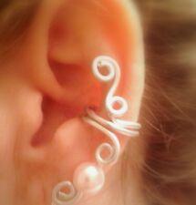 Bohemian SILVER EAR CUFF clip on Boho earring Pearl Earcuff Handmade customized