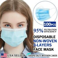 [100 PCS] Face Mask Non Medical Surgical Disposable 3-PLY Earloop Mouth Cover