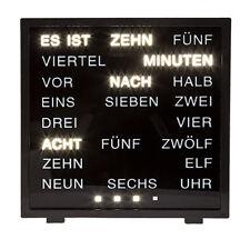 Wort Anzeige Uhr 16,4x17x4,3 cm Schwarz Tischuhr in deutsch LED Wortuhr