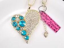 Betsey Johnson fashion jewelry Cute green heart pendant necklace # B