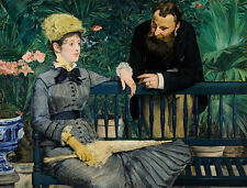 In the Conservatory A1+ by Edouard Manet High Quality Canvas Art Print