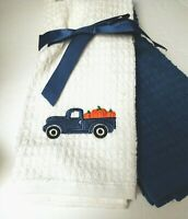2-Autumn/Fall Embroidered Blue Pickup Truck Pumpkin Harvest Kitchen Hand Towels