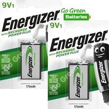 2 x Energizer 9V PP3 Block 175 mAh Rechargeable Batteries HR22 6LR61 HR9V DC1604