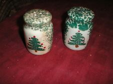 Christmas Tree Spongeware Salt & Pepper Shakers
