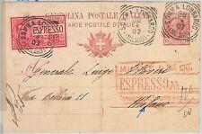 53616 - REGNO - INTERO POSTALE spedito ESPRESSO da SOMMA LOMBARDO - BELLO! 1907