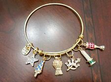 Order of the Eastern Star-Brooks Bangle Bracelets-3D g/p 5 star points /crystals