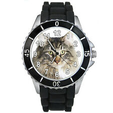 Norwegian Forest Cat Mens Ladies Fashion Black Jelly Silicone Wrist Watch S175E
