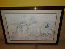 "Nancy Phelps Signed Watercolor Impressionism ""Free Kittens"" 1987"