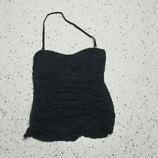 Betsey Johnson Women's Halter Tankini Top ~ Black ~ Sz S ~ Removable Strap