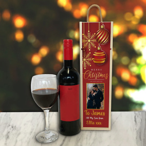 Personalised Wine Box Red Baubles Great Christmas Gift Add Any Photo & Text