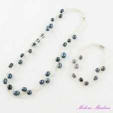 Glass Seedbead and Freshwater Pearl Necklace & Bracelet Set Blue Grey