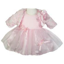 BRAND NEW BABY GIRLS DESIGNER LITTLE DARLINGS PINK DRESS AND FUR JACKET 24 MNTHS