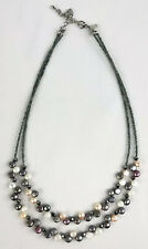 """Lia Sophia Tahitian Genuine Freshwater Pearl Crystals Glass Beads Necklace16-19"""""""