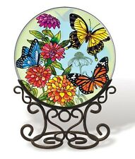 """AMIA STAINED GLASS SUNCATCHER BUTTERFLY GARDEN (NO STAND) 6.5"""" ROUND  #5681"""