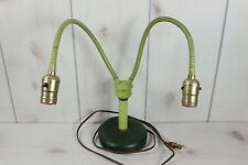 Vintage 1950's-60's Twin Light Goose Neck Desk Table Lamp Green Deco Style Retro