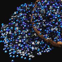 2000 x 2mm 3D Round AB Rhinestone Acrylic Nail Art Glitter Crystal Decorations