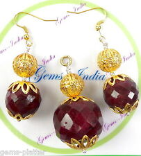 Exclusive 243 Ct Natural African Red Ruby Pendant With Ear-Rings~Gold Polished