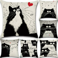 Black and White Cat Cotton Linen Pillow Case Cute Sofa Throw Cushion Cover new