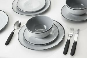 LUXURY MELAMINE Table Set With Non Slip No Rattle Base CARAVAN PLATES Tivoli