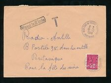 MISSENT to ST LUCIA 1974 from FRENCH MARTINIQUE + TAXE MARK