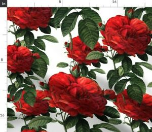 Roses Red Rose Botanical Floral Flowers Victorian Spoonflower Fabric by the Yard