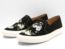 Miss Selfridge Ellis Womens UK 5 Black Floral Embroidered Pumps Shoes Plimsolls