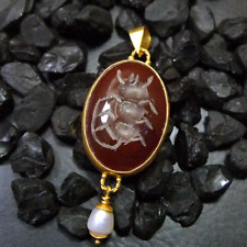Large Hand Carved Carnelian Pendant W Pearl Gold Over 925K Sterling Silver