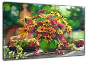 FLOWERS IN GARDEN DRAWN CHARCOAL SOFT PASTEL PRINT ON FRAMED CANVAS DECORATION