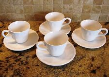 LUNEVILLE (France) Louis XV - Neige (white) - 4 cups & saucers