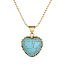 """Women's Heart Turquoise Pendant Necklace 18K Yellow Gold Filled 18"""" Link"""