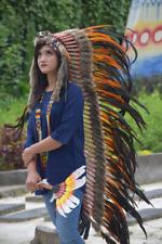 Wolf Indian Headdress Large Warbonnet Black Orange Feather Replica Handmade