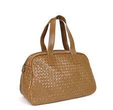 New Auth BOTTEGA VENETA Leather Woven Boston Satchel Dome Bag,Brown, 132380 2517