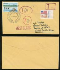 NAURU POSTAGE DUE from USA 3 DIFFERENT TAX MARKS + 7c ADHESIVE 1982