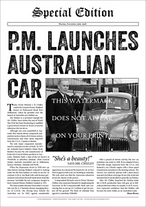 """Chifley Launches Holden – Special Edition A2 Print – Poster 59 x 42 cm 23"""" x 17"""""""