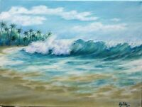 "Art16""/12"" oil painting, California surf, Seascape, landscape,ocean waves,surf"