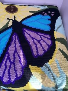 """HANDMADE Crocheted AFGHAN Knit BUTTERFLY COUCH Lap Bed BLANKET Throw 67"""" X 60"""""""