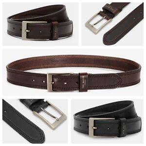 Ted Baker CRIKITT Cricket Stitch Men's Belt Black / Chocolate NEW!!!!!