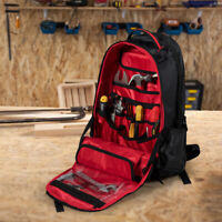Costway Tradesman Tool Backpack Heavy Duty Jobsite Tool Bag 26 Pockets w/ Base