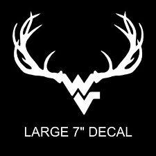 """Large 7"""" x 5.5"""" West Virginia Mountaineers Deer Antlers Decal Deer Hunting White"""