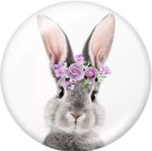 Gray Easter Bunny Crown of Purple Flower Glass 20mm Snap Charm For Ginger Snaps