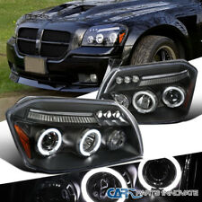 Dodge 05-07 Magnum LED Halo Projector Headlights Driving Head Lamps Black Clear