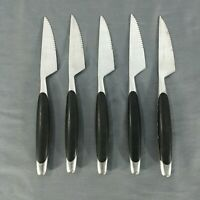 5 Vtg Black Handle MCM Stainless Steak Knives JAPAN